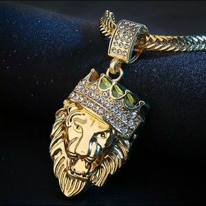 Men's Stainless Steel Lion NECKLACE in 18K Gold